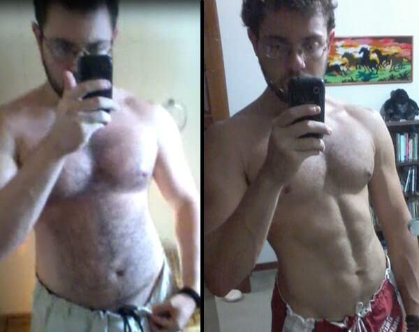 Cardarine Relato - Cardarine antes e depois. 12 semanas de diferença entre as fotos.